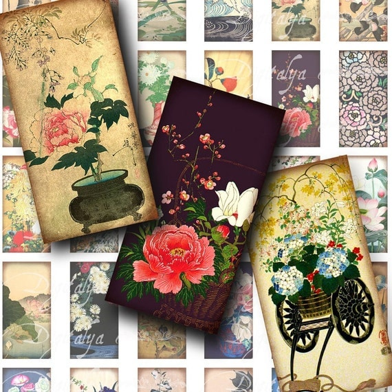 Asian Flora (1) Digital Collage Sheet with Vintage Japanese Botany Prints - Dominos 1x2 inch for jewelry - Buy 3 Get 1 Extra Free