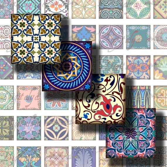 """Tiles From Around The World (4) Digital Collage Sheet with colorful mosaic - Squares 1x1"""" or 0.875"""" or scrabble - Buy 3 Get 1 Extra Free"""