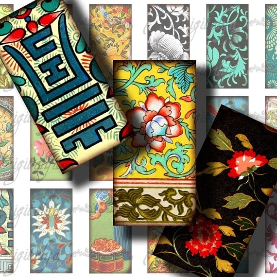 Asian Ornament (11) Digital Collage Sheet - Dominos 1x2 inch or bamboo size - Buy 3 Get 1 Extra Free