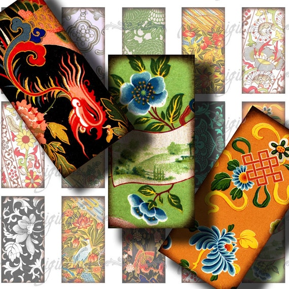 Asian Ornament (13) Digital Collage Sheet - Art Work from Ancient China & Japan - Dominos 1x2 or Bamboo - Buy 3 Get 1 Extra Free