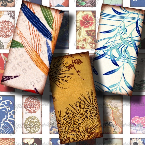 Kimono Fabrics (5) Digital Collage Sheet - 30 different Domino 1x2 inch or Bamboo size - Printable Download - Buy 3 Get 1 Extra Free