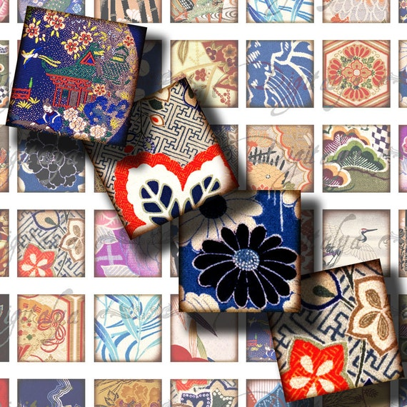 Kimono Fabrics (4) Digital Collage Sheet - 56 Squares 1x1 or smaller or scrabble with traditional Japanese motifs - Buy 3 Get 1 Extra Free