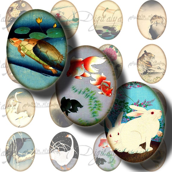 ASIAN FAUNA  (2) Digital Collage Sheet - Ovals 30x40mm or 18x25mm or other sizes - Buy 3 Get 1 Extra Free