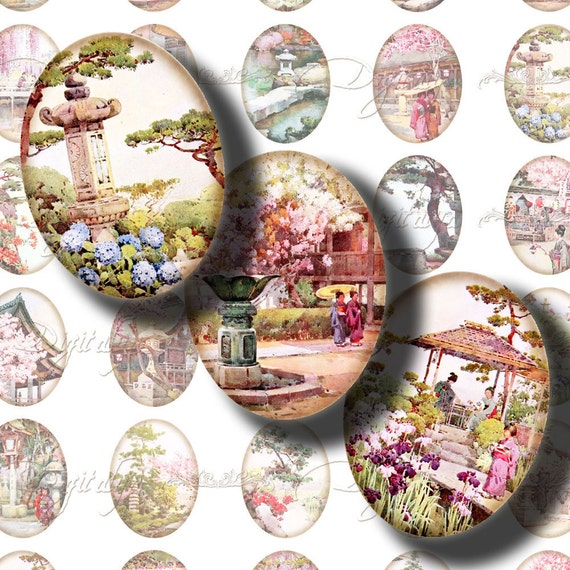 Japanese Garden (2) Digital Collage Sheet with Japanese Traditional  Flower Gardens - 30 different Ovals 1.2x1.6 inch - 30x40mm or smaller