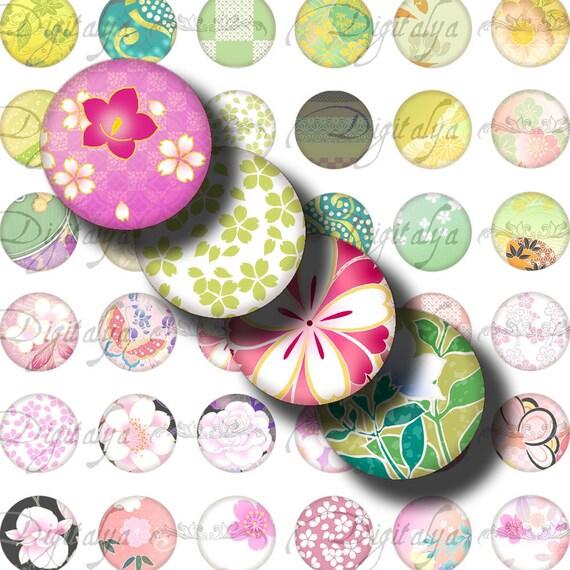 Digital Collage Sheet - Japanese Design Green & Pink (2) circles 1/2 inch - 12mm - 48 Motifs 252 Tiles - Buy 3 Get 1 Extra Free