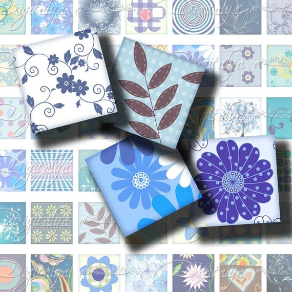 Shades of Blue (1) Digital Collage Sheet - Pastel & Vibrant designs - Squares 1 inch or 0.875 inch or scrabble size - Buy 3 Get 1 Extra Free