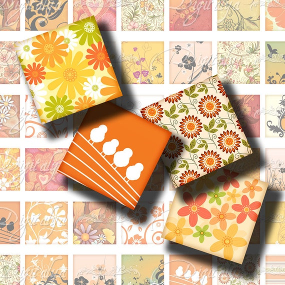 Shades of Orange (2) Digital Collage Sheet - Square 1 inch or 0.875 or scrabble - Printable Download - Buy 3 Get 1 Extra Free