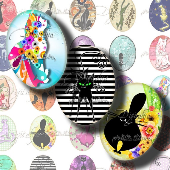 Digital Collage Sheet with Playful Kittens, Fat kitties, Disco Cats - Trendy Kitties 30 motifs 63 Ovals 18x25mm - .70x.98 inch with