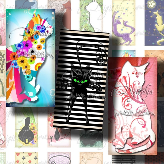 Trendy Kitties, Funny Cats - Digital Collage Sheet - 30 different Dominos 1x2 inch or bamboo size - Buy 3 Get 1 Extra Free