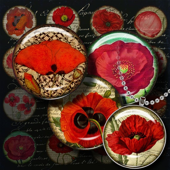 ANTIQUE POPPIES - Digital Collage Sheet - 1.5 inch circles or any smaller size with vintage French manuscripts & backgrounds - see promo