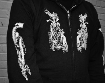 Zip up hoodie unique intricate metalish art design by dan infecto