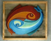 Pisces - Hand painted, wall hanging Twin Fish