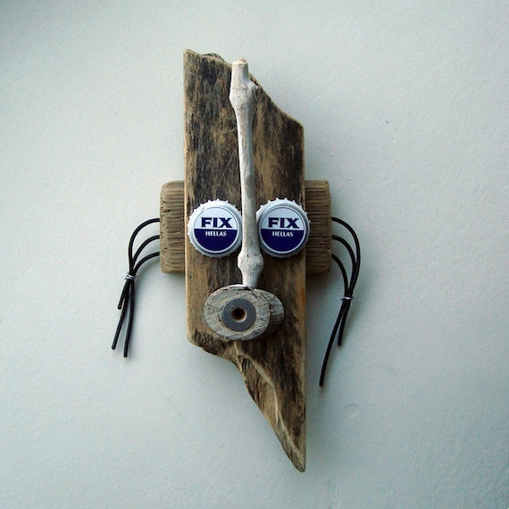 Tribal Collage mask  - Wall Hanging Wood assemblage