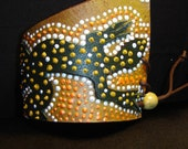 ABORIGINAL Cuff Bracelet Orange Green Yellow and White Dot Hand Painted Re Cycled Leather