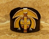AFRICAN MASK  Brown Gold and White Hand Painted Recycled Leather Cuff