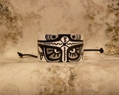 THE ISLAND Hand Painted Black White and Silver Recycled Leather Cuff