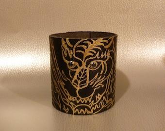 TIGER EYES Cuff Bracelet Hand Painted Gold Tiger Repurosed Black Leather