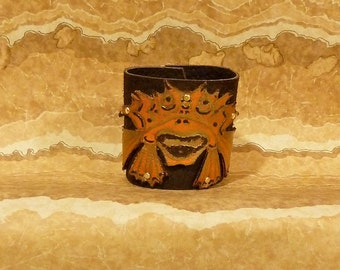 JAPANESE FISH Cuff Bracelet Brass Brads Hand Painted Orange and Gold Re Cycled Leather