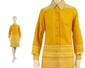 Vintage 60s SHIRT DRESS, great STRIPED summer mod dress, citrus orange & yellow graduated stripes