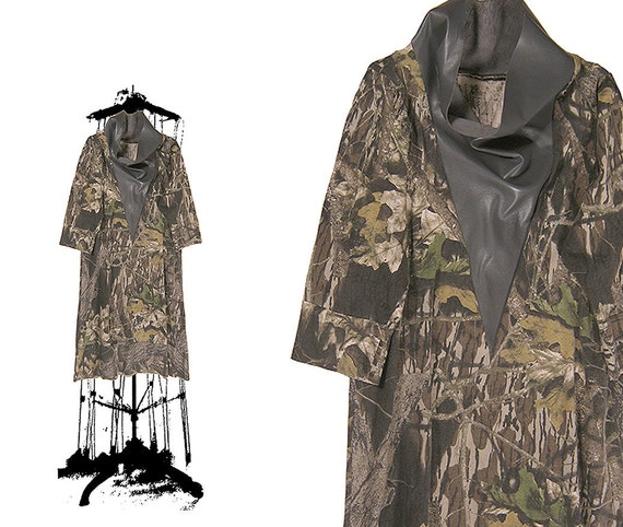 LEATHER DRESS CAMO dress / color block cowl dress / leather mini / leather tunic / camouflage spring