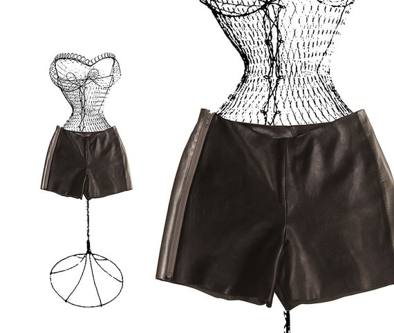 BLACK leather SHORTS, color block with contrast SILVER racing stripe and zipper, summer shmata