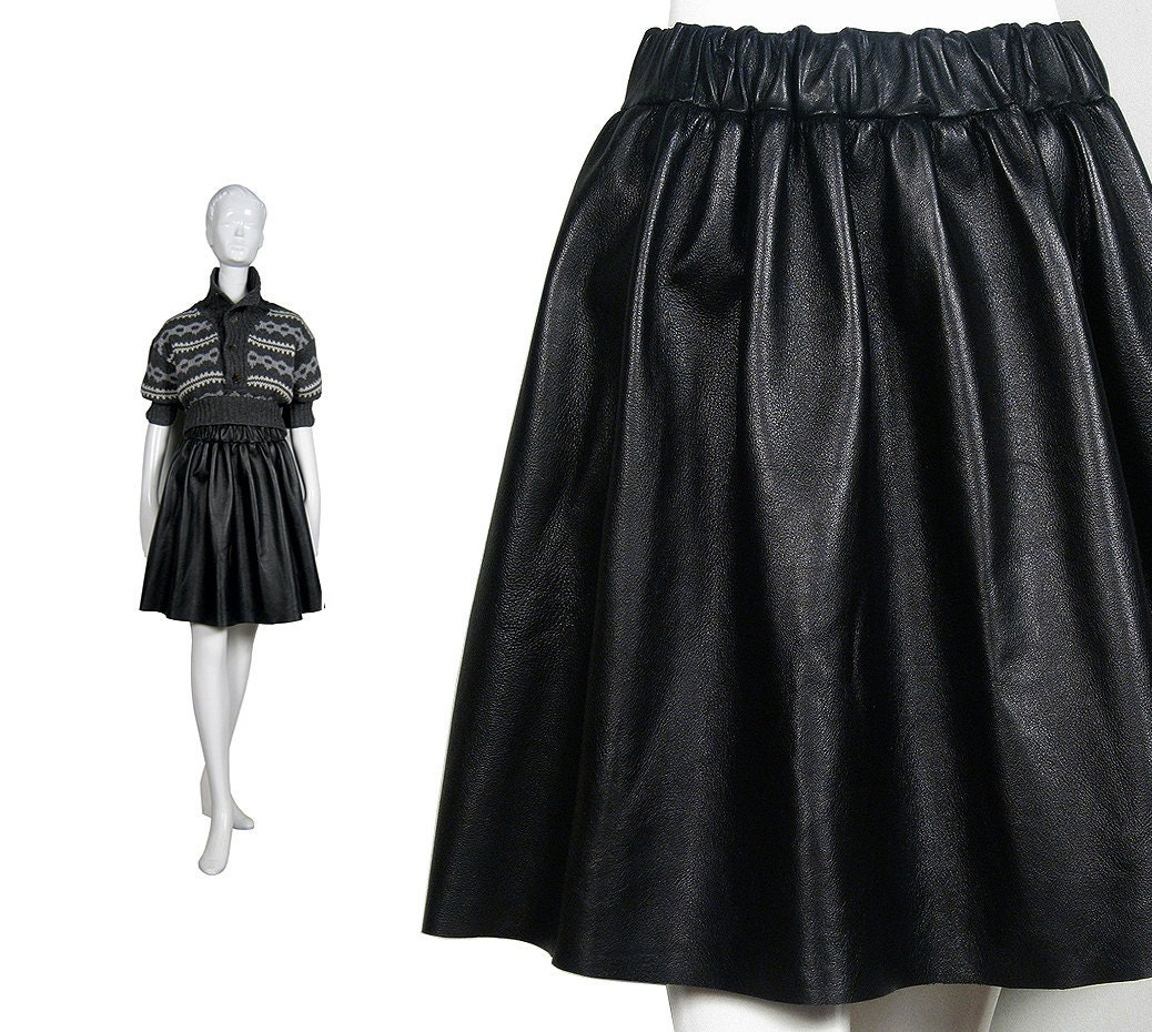 BLACK LEATHER SKIRT real leather skirt / full skirt / circle
