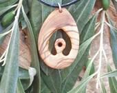 Hand carved Greek Olive wood necklace
