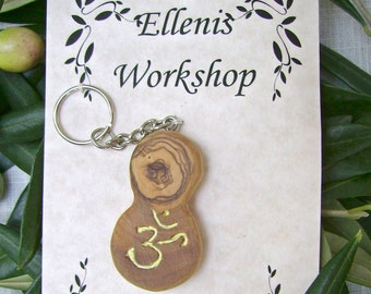 Aum symbol olive wood key chain