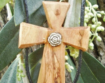 Olive wood cross pendant with Tibetan silver flower, hand made in Greece