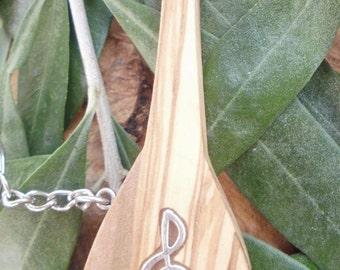 Hand carved Greek Olive Wood musical key chain, bouzouki, mandolin inlaid with Tibetan silver treble clef