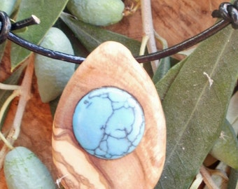 Hand carved Greek Olive Wood necklace inlaid with round turquoise natural gemstone