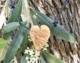 Olive wood heart shaped pendant, hand made in Greece