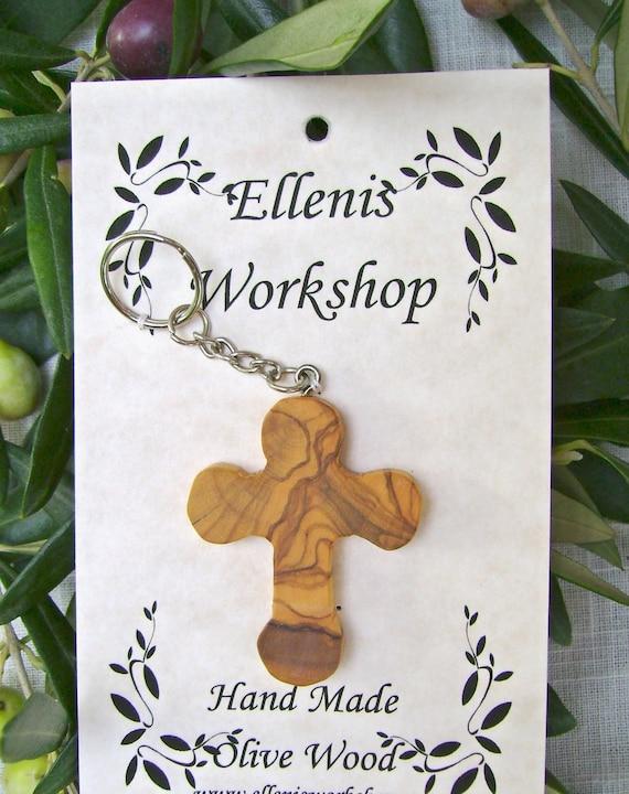 Olive wood Cross Key chain