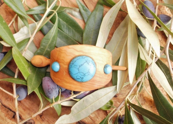 Hand carved Greek Olive Wood hair buckle inlaid with turquoise natural gemstones,