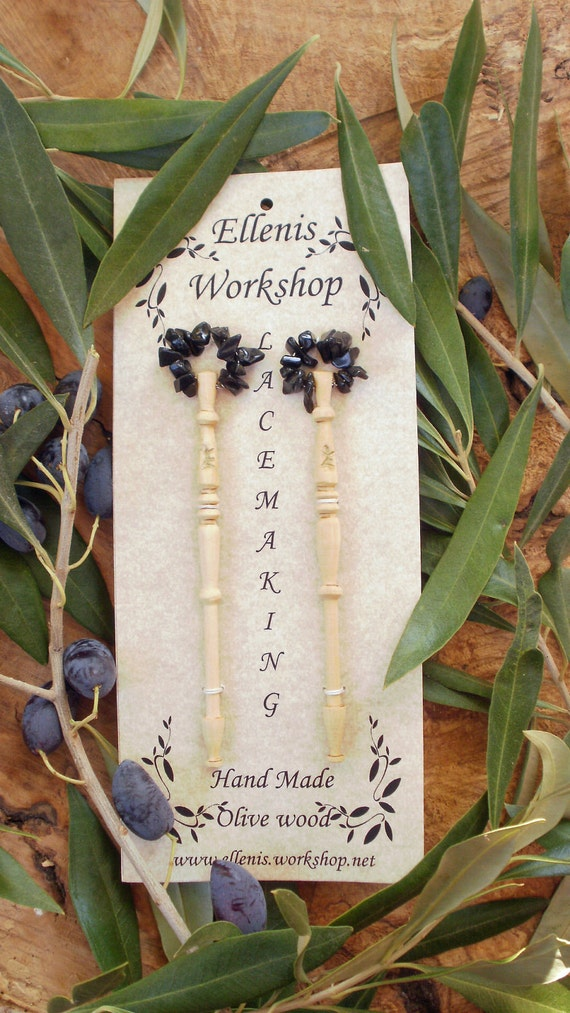 olive wood set of two lace bobbins decorated with black onyx gemstones