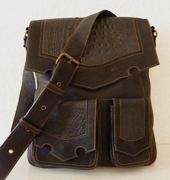 Burning Man Unisex Leather Shoulder Bag