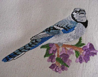Tote Bag with Bluejay on branch with Beautiful Purple Flowers