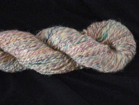 Alpaca and Silk Yarn - hand dyed, hand spun - yellow multi