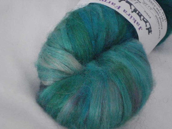 Hand Painted Tussah Silk Roving in Greens
