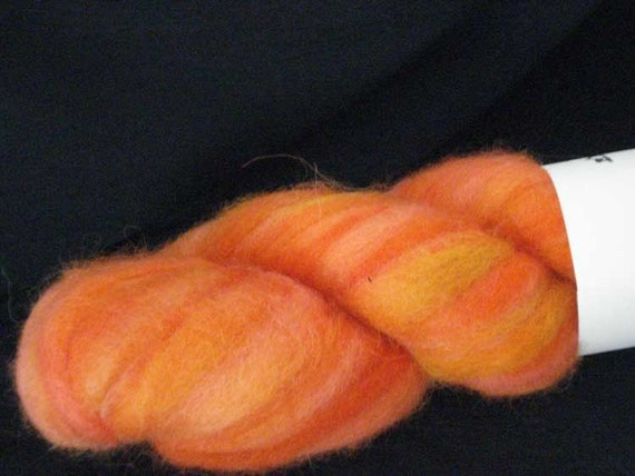 Hand Painted Alpaca Roving in Fun and Bright Oranges