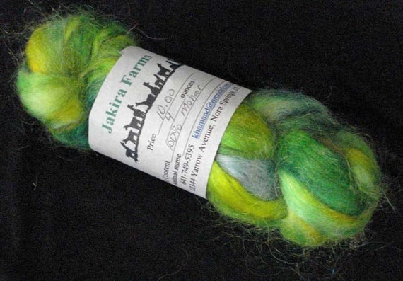 Hand Painted Mohair Roving in Greens with Yellow and Blue
