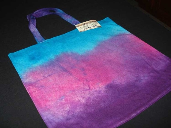Tie-Dyed Tote Bag in Turquoise, Pink, and Purple-MARKED DOWN