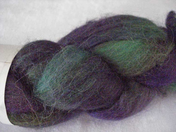Hand Painted Alpaca Roving - Jewel Tones of Purple, Green and Blue
