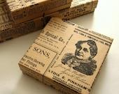 10 Jewelry Boxes Kraft Vintage Newspaper Newsprint 3.5 x 3.5 x 1 inch