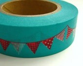 Japanese Washi Tape Turquoise Flag Bunting Garland One Roll 16 yards