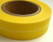 Japanese Washi Masking Tape Lemon Yellow with White Dots One Roll 16 yards