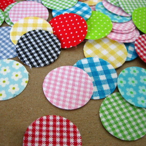 10 Round Stickers Fabric Gingham Cotton Hand Die Cut - YOU PICK COLORS - 1 inch