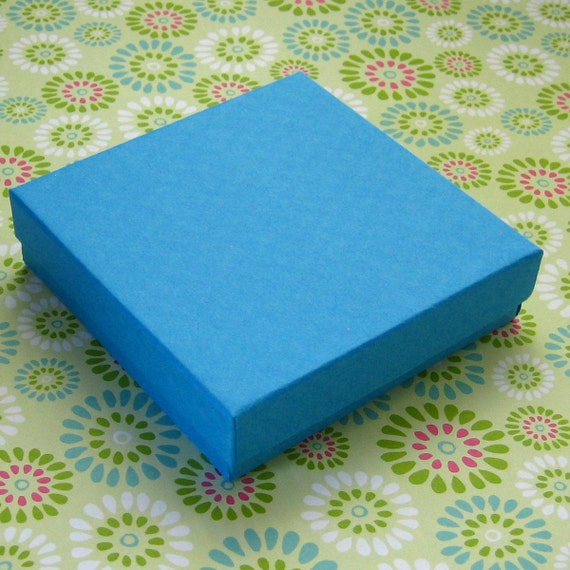 10 Bright Blue Kraft Cotton Filled Jewelry Boxes 3.5 x 3.5 x 7/8 inch
