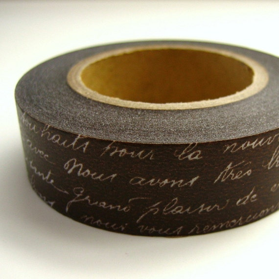 Japanese Washi Tape Brown French Script One Roll 16 yards