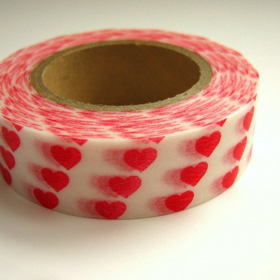 Washi Masking Tape Red Hearts One Roll 16 yards